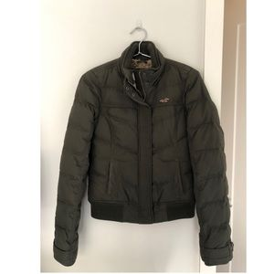 Army green winter puffer coat from Hollister.